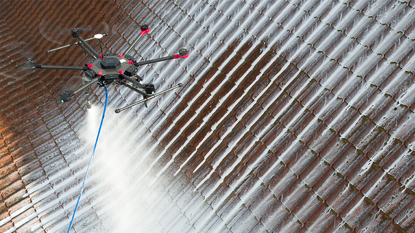 Algae treatment with drones